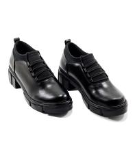 Derbies Femme LC 249 – Chunky Talon Bloc – Plateforme – Elastique – Noir Matt