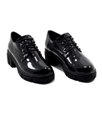 Derbies Femme LC 450 – Chunky Talon Bloc – Plateforme – Elastique – Noir Vernis