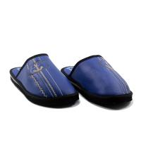 Chausson/Mule LC 11 - Simili Cuir - Couture - Bleu