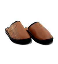Chausson/Mule LC 11 - Simili Cuir - Couture - Marron