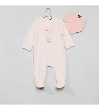 Pyjama velours + bavoir Rose
