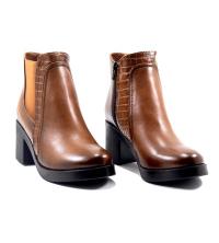 Boots LC 3000 - Simili Cuir - Talon Bloc - Croco - Marron