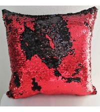 Coussin à paillettes réversible – Noir & Rouge