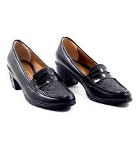 Chaussures LC 198 - Simili Cuir - Talon Bloc - Noir
