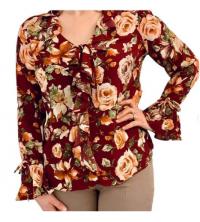 Chemise femmes à volants rouge fleurie