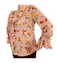 Chemise femmes à volants rose