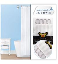 Baya Rideau De Douche - Imperméable Avec 12 Anneaux - SH17-2 - 180 x 180 cm- Blanc