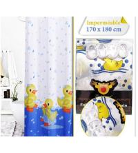 Rideau De Douche - Imperméable Avec 12 Anneaux - SH17-3 - Motif Canard