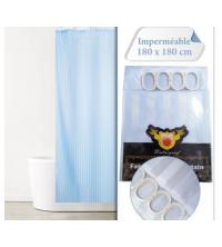 Rideau De Douche - Imperméable Avec 12 Anneaux - SH17-2 - 180 x 180 cm-bleu ciel