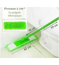 Balai à Raclette Microfibres - Complet - 120 cm x 40 cm - Avec Manche - Télescopique - Vert