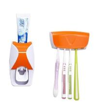 Distributeur - Dentifrice - Avec Support De 5 Brosses A Dents - Blanc - Orangé