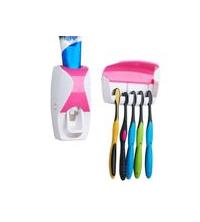 Distributeur - Dentifrice - Avec Support De 5 Brosses A Dents - Blanc - Rose