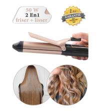 LEXICAL Lisseur - Boucler Et Pinces Cheveux - 2 En 1 - Professionnel - Plaque En Céramique - Noir