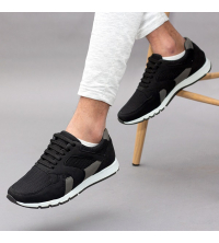 Running Sneakers LC 570 - Textile - Simili Cuir - Noir et Gris