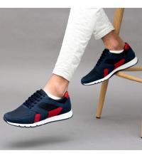 Running Sneakers LC 570 - Textile - Simili Cuir - Bleu et Rouge