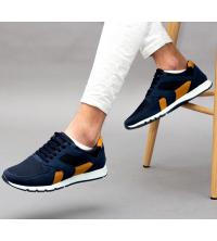 Running Sneakers LC 570 - Textile - Simili Cuir - Bleu et Jaune Moutarde