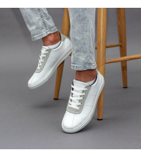 Sneakers - Simili Cuir - Nubuck - Lacets - Couture - Blanc LC 922