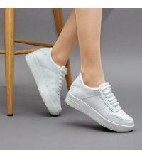 Sneakers Femme LC 859 - Simili Cuir- Lacet - Blanc