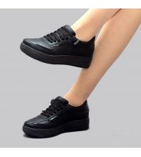 Sneakers Femme LC 859 - Simili Cuir- Lacet - Noir
