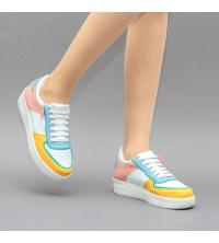 Sneakers Femme LC 859 - Simili Cuir- Lacet - Blanc et Multi-Couleur