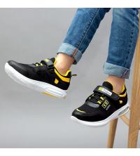 Sneakers LC 907 - Pour Enfant - Simili Cuir - Scratch - Noir et Jaune