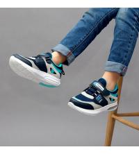 Sneakers LC 907 - Pour Enfant - Simili Cuir - Scratch - Gris et Turquoise