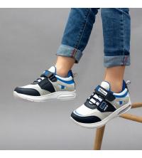 Sneakers LC 907 - Pour Enfant - Simili Cuir - Scratch - Gris et Blanc