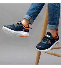 Sneakers LC 907 - Pour Enfant - Simili Cuir - Scratch - Bleu et Orangée