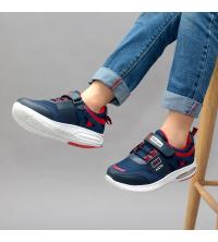Sneakers LC 907 - Pour Enfant - Simili Cuir - Scratch - Bleu et Rouge