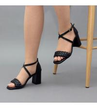 Sandales LC 2022 Noir Matt - Talon Bloc - Ceinture Croisée - Tressé