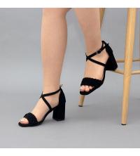 Sandales LC 2022 Noir Nubuck - Talon Bloc - Ceinture Croisée - Tressé