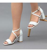 Sandales LC 2022 Blanc Matt - Talon Bloc - Ceinture Croisée - Tressé
