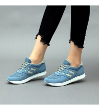 Running Sneakers LC 8007 Bleu et Gris - Textile - Nubuck