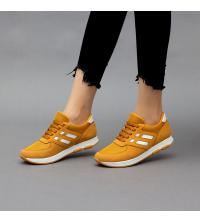 Running Sneakers LC 8007 Jaune M et Blanc - Textile - Nubuck