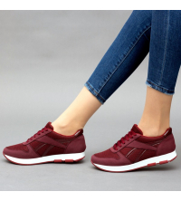 Running Sneakers LC 8002 Rouge Bordeaux - Textile - Nubuck - Simili-Cuir Vernis