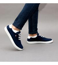 Sneakers LC 1015 - Tissu – Imperméable - Lacets - Bleu et Blanc