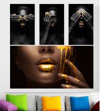 Set tableau black dorée