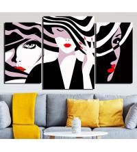 Set Tableaux 3 pièces Femme Rouge & Noir