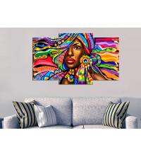 Tableau décoratif 3 pces - Femme Africaine - 100 x 60 cm
