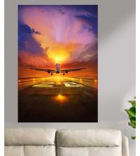 Tableau décoratif en vinyle mat - décollage avion - 80 x 120 cm