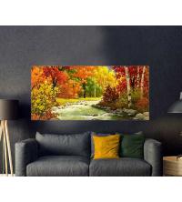 Tableau décoratif bâche forêt peinture 170x75 cm