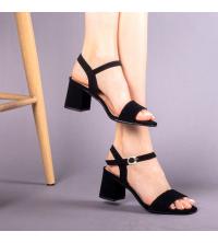 Sandales LC 221 Noir Nubuck - Talon Bloc - Ceinture - Matelassé