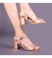 Sandales LC 221 Bronze - Talon Bloc - Ceinture - Matelassé