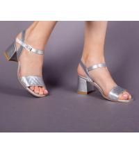 Sandales LC 221 Argent - Talon Bloc - Ceinture - Matelassé