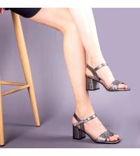 Sandales LC 221 Gris Fumé - Talon Bloc - Ceinture - Matelassé