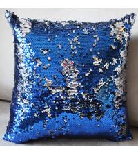 Coussin à paillettes réversible - Bleu & Argent