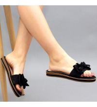 Claquette LC 03 Noir - Nubuck - Papillon Design - Plat - Pour Femme