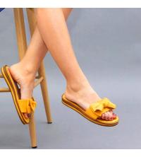 Claquette LC 03 Jaune Moutarde - Nubuck - Papillon Design - Plat - Pour Femme