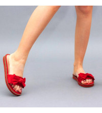 Claquette LC 03 Rouge - Nubuck - Papillon Design - Plat - Pour Femme