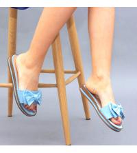 Claquette LC 03 Bleu Clair - Nubuck - Papillon Design - Plat - Pour Femme
